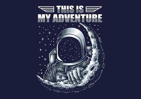 astronauta de aventura en la luna vector