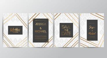 White wedding invitation cards vector