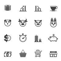 conjunto de iconos de negocios y economía