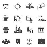 conjunto de iconos de rutina diaria y negocios vector