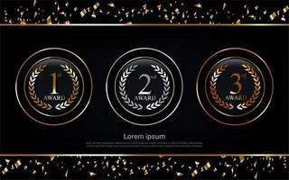 Champion gold, silver and bronze award circle set medal vector