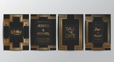 VIP luxury wedding invitation cards vector