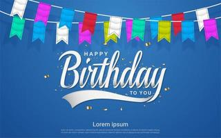 Happy birthday celebration with colorful flag in blue background