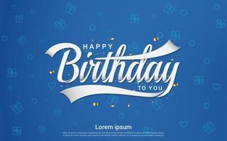 Happy birthday celebration in blue background vector