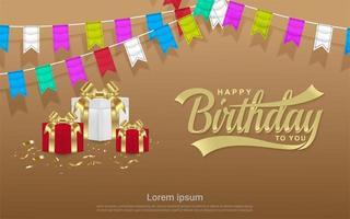 Happy birthday celebration with gift box  vector
