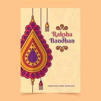 Raksha Bandhan greeting card with colorful ornaments vector