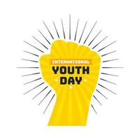International youth day design with yellow fist vector