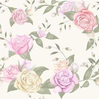 Roses and buds on yellow seamless pattern