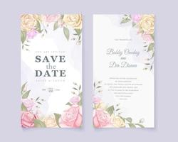 Rose bouquet wedding save the date card