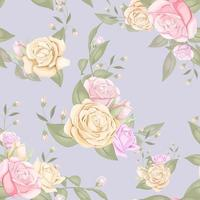 Roses and buds on purple seamless pattern