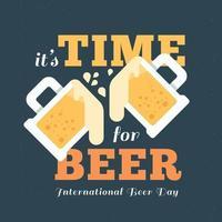 diseño del día internacional de la cerveza con dos tazas