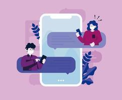 design roxo com mensagens de texto de pessoas mascaradas vetor