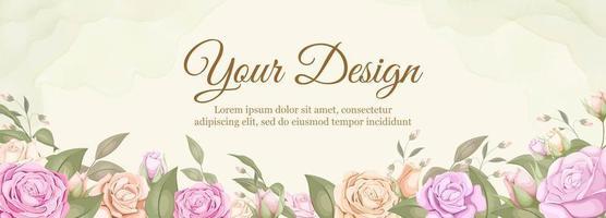 banner de boda rosa vector