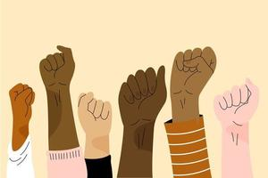 Hand drawn multiracial raised fists vector