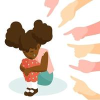 Hands pointing at young girl of color vector