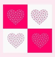 Polygonal heart shape set vector