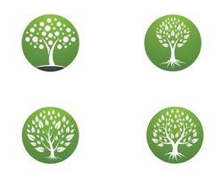 Tree symbol round icon set vector