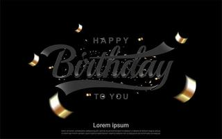 feliz aniversário design com fitas douradas no preto vetor