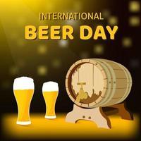 Cartel del día internacional de la cerveza con barril de roble