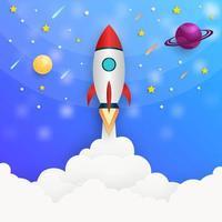 Rocket launching into galaxy vector