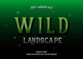 Wild landscape sparkly green editable text vector