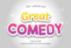 Great comedy yellow and pink gradient editable text vector