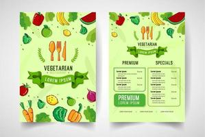 menu de frutas e legumes colorido mão desenhada vetor