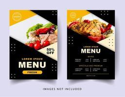 menú de restaurante de diseño de ángulo negro y naranja vector