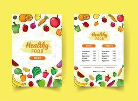 menu de restaurante de comida saudável de estilo desenhado à mão vetor