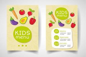 menu de restaurante de frutas e vegetais para crianças vetor