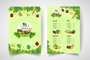 menu de restaurante vegetariano de estilo desenhado de mão vetor