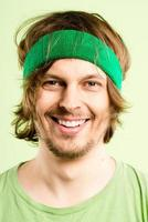 happy man portrait real people high definition green background