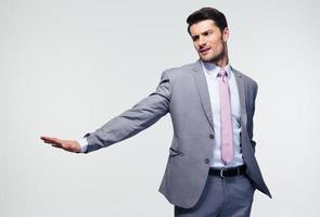 empresario mostrando gesto de parada foto