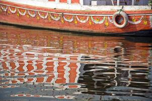boat fragment and reflections on Ganges river,India