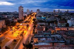 Cuba. Night Havana. The top view on  avenue Presidents.