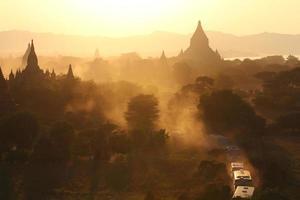 pagodas and golden light