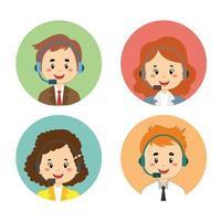 conjunto de avatar masculino e feminino call center vetor
