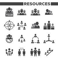 conjunto de 16 iconos simples de recursos humanos