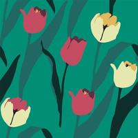 Artistic seamless pattern with abstract tulips. Modern design