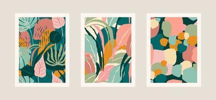 samling av konsttryck med abstrakta blad. modern design