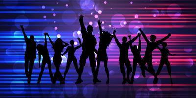 banner abstracto con siluetas de gente de fiesta