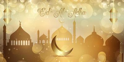 Banner de luces bokeh de oro para eid al adha vector