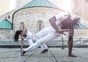 Young pair capoeira partnership ,spectacular sport photo