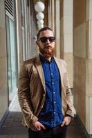 Bearded hipster sunglasses in the city photo