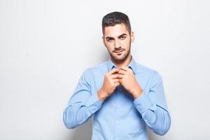 single elegant man in blue shirt