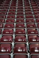 Red, numbered stadium seats