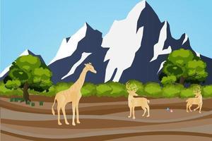 jirafas y ciervos con montañas