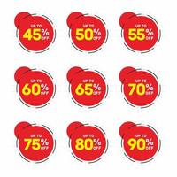 Discount Red Sticker Collection  vector
