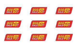 Big Sale Labels With Discounts Percents Set  vector