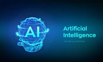 Artificial Intelligence logo in hand vector